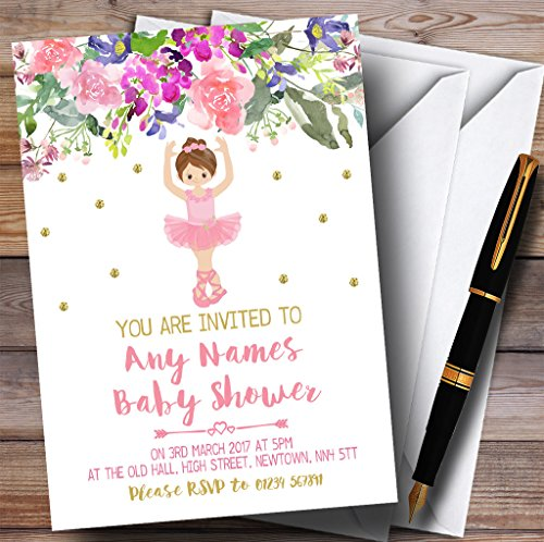Ballerina Baby Shower Invitations - Floral Gold Ballerina Ballet Invitations Baby Shower Invitations