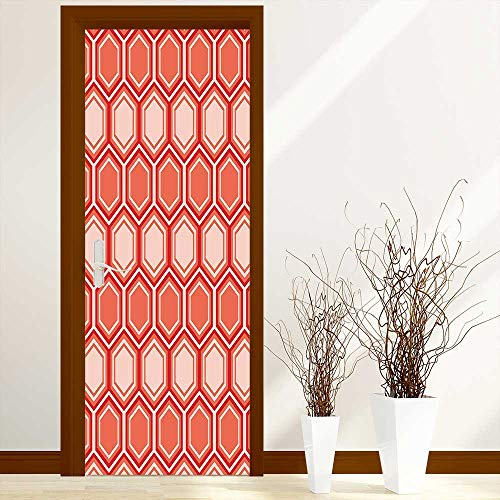 L-QN Sticker for Front Door Comb Pattern Geometrical Tile Graphic Artwork Vintage Design Peach Coral Dark Coral Anti-UV, Easy Installation W38.5 x H77 inch