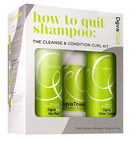 DevaCurl How to Quit Shampoo: Cleanse & Condition Curl Kit - hair shampoos (Women, Shampoo, Curly hair, Make sure to vigorously work No-PooTM throughout the scalp and continue that vigorous motion while r)