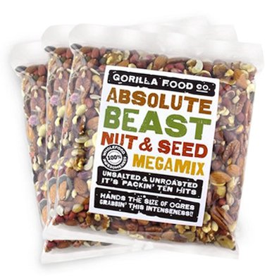 Gorilla Food Co. Absolute Beast Raw Unsalted Mixed Nuts and Seeds, Trail Mix, Vegan, Paleo - 3 Packs (2 Pounds each) Resealable Bags