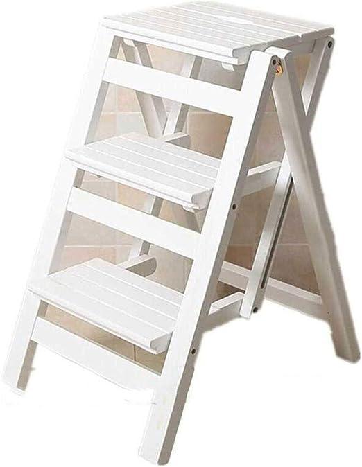 YEXIN Escalera de Tijera de Madera Maciza Plegable de 3 Niveles para el hogar Escalera de Tijera para Andar portátil Silla de Banco de Asiento Soporte de Flor Utilidad (Color : Blanco):