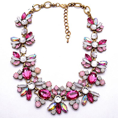 PSNECK Vintage ue Water Drop Crystal Floral Chain Collar necklace Unique Statement Choker Charm Jewelry Party