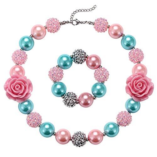 Little Girls Chunky Bubblegum Beads Pink Flower Necklace Bracelet Jewelry Set