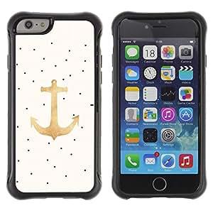 Híbridos estuche rígido plástico de protección con soporte para el Apple iPhone 6 (4.7) - anchor art oil paint dots art drawing