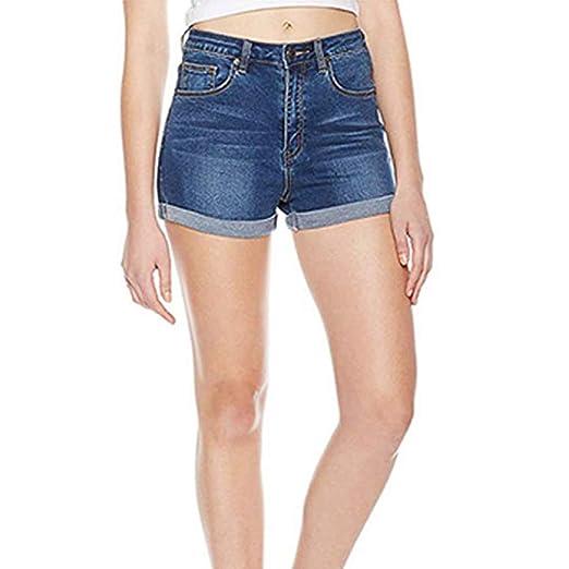 Luckycat Denim Pantalones Cortos Mujer Básicos Gimnasio ...