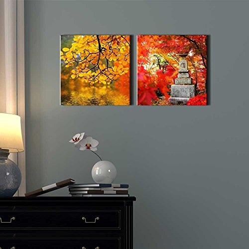 Two Piece Yellow Orange and Red Trees by a Lake Along with a Japanese Statue on 2 Panels
