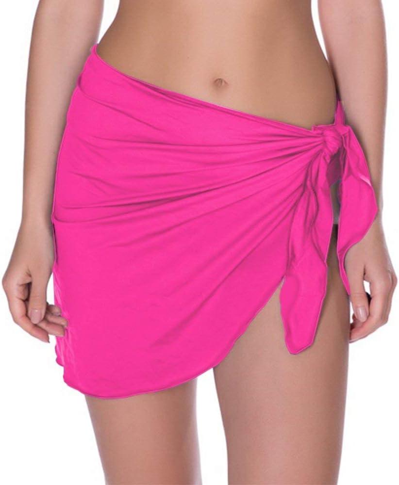 ff6e6d5145 Beach Coverups, Womens Beach Sarong Pareo Chiffon Cover up Swimsuit Wrap  Short (Fuchsia)