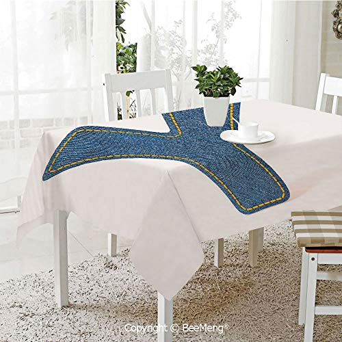 BeeMeng Large dustproof Waterproof Tablecloth,ABC of Vintage Fashion Theme Jeans Fabric Denim Texture and Uppercase Y Image Decorative,Blue Yellow70 x 104 inches