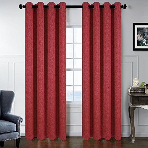 SGOFAIS Bronze Ring, Roman Pole, 8 Holes For Living Room Curtains Romatic Curtains 52X84 Dark Red 1 Pair 2 Pieces - Roman Bronze Ring