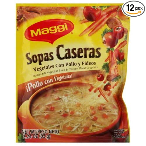 Amazon.com : Maggi Sopas Caseras Chicken, 3.24-Ounce (Pack of 12) : Chicken Soups : Grocery & Gourmet Food