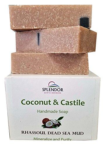 Dead Sea Mud Mineral Face and Body Bar Soap. (3 bars/15oz) Handmade USA, Vegan, Natural, Moisturizing.