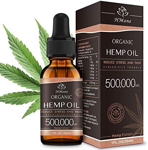 Organic Hemp Oil Extract - 500,000MG Extra Strength - Organically Grown in USA - Non-GMO, Vegan