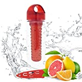 Red Fruit Vegetable Infuser Infused Infusion 28 oz Water Bottle Tumbler & Knife Set BPA Free Healthy Home Essentials Girlfriend Boyfriend Unique Cool Birthday Valentines Day Gift Idea 2017