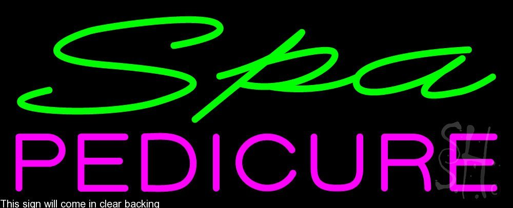 Spa Pedicure Clear Backing Neon Sign 13'' Tall x 32'' Wide