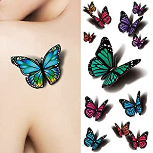 Tinkmax 3D Butterfly Waterproof Paper Temporary Tattoo Decals Body Art Decal Flying Butterfly Tattoo
