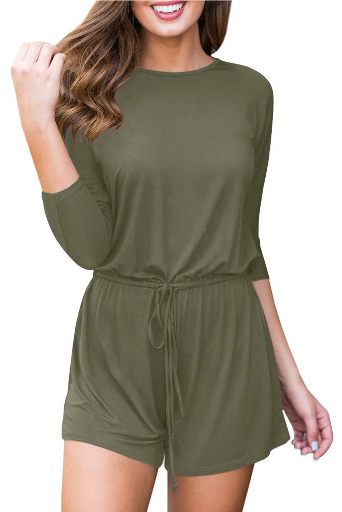 For G and PL Women's Loose Fit Solid Color Drawstring Waist Playsuit Cotton 3/4 Sleeve Casual Shorts Jumpsuit Romper Olive L