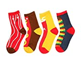 Field4U 4 Pairs Famous Collection Painting Crew Socks - Red