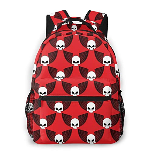(BLACK SP Skull with Wings Casual Travel Backpack Cute Book Bags Fashion Computer Backpack)