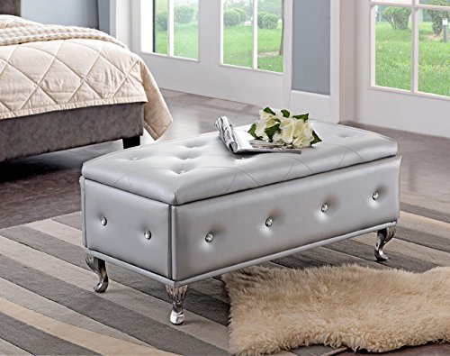 Kings Brand Furniture Silver Vinyl Tufted Design Upholstered Storage Bench Ottoman (Upholstered Bench Wide)