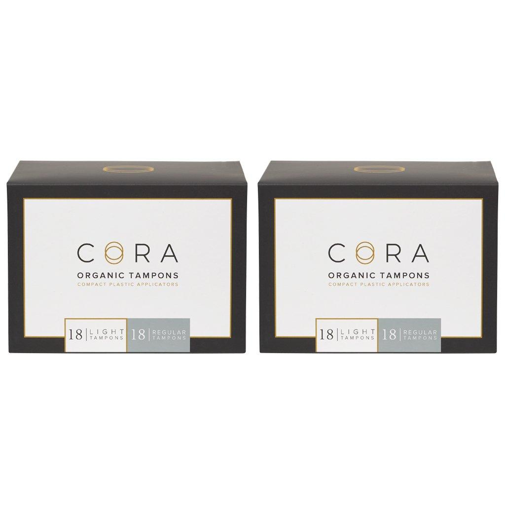 Cora Organic Cotton Tampons w/ Applicator (72 Count; 36 Light & 36 Regular)
