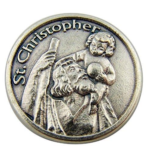 Silver Tone Saint St Christopher the Christ Bearer Pocket To