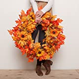 Pine & Paint Fall Maple Leaf Wreath Lighted 30 Inches Harvest Leaf, Pumpkins and Berries