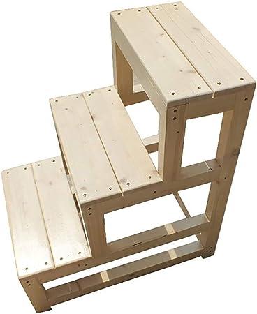 Stairstool 3 pisos silla de la escala biblioteca, dormitorio escalera de madera, antideslizante estrado en el armario de estudio, 70cm de alto,50×60×70cm: Amazon.es: Hogar