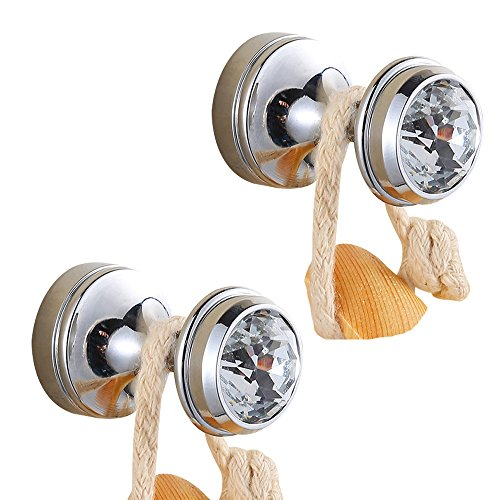 BigBig Home Crystal Decorative Wall Hooks Towel Hook, Chrome Finish Brass Coat Hook Hangers Wall Mounted.(Silver, Pack of 2)