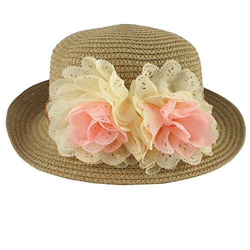 [Summer Fashion Baby Girl Half a Flanging Straw Hat Beach Sun Cap with Two Flowers] (Sailor Straw Hat)