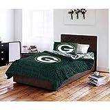 4pc NFL Green Bay Packers Comforter Twin Set, White, National Football League, Unisex, Green, Sports Patterned Bedding, Team Spirit, Fan Merchandise, Football Themed, Team Logo