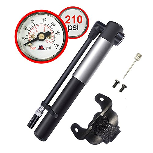 Mini Bike Pump Gauge,Presta & Schrader,210PSI,Flexible Hose,Mini Potable Frame Pump with Aluminum Alloy Body,for Road, Mountain or BMX Bicycles, Balls by Fixm