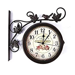 Bracket Clock, Clocks Double Sided Garden Outdoor Wall Clock Garden Silent Clock Two Sided Design Clock Living Room Craft Clock for Use Indoors and Outdoors