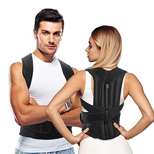 AEVO Corrector de Postura con Soporte Completo, Soporte de espalda para Mejora Postura, Alivia el Dolor de espalda, Soporte ajustable y transpirable para cuello, espalda y hombros, XL