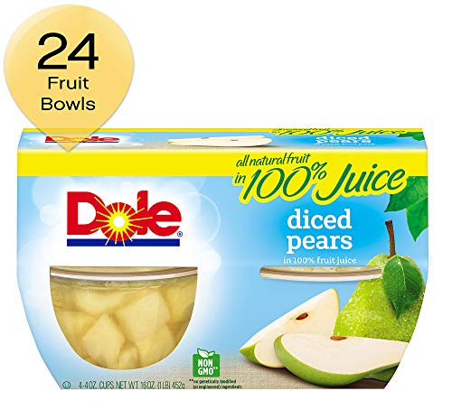 Pineapple Pear - Dole Fruit Bowls Diced Pears in 100% Juice 4 Cups (Pack of 6)