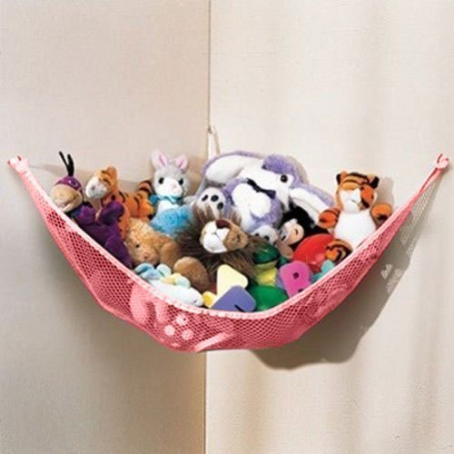 Dozenegg Stuffed Animal & Toy Organizer Hammock Pet Net, Pink Net und Trim
