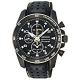 Seiko Sportura SNAE67P1 Men's Leather Strap Black Dial Chronograph Alarm Watch