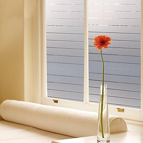 Coavas White Non-Adhesive Elegant Stripe Frosted Privacy Windows Film,Avoid Glass Burst(17.7-Inch By (Carpet Static)