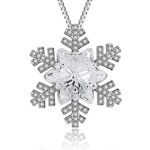 XZP Sterling Silver Plated Frozen Snowflake Necklace Crystals