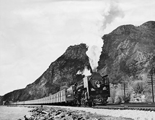 Low angle view of a freight train moving on railroad track New York Central Pacemaker 1947 Poster Print (24 x 36) (York New Central Stock Railroad)