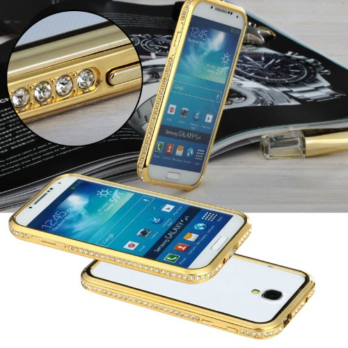 @Samsung S4 Bumper Case, Crystal Decorated Metal Removable Bumper Metal Protective Frame Case, Protective Metal Case, Crystal Frame Case, with Side Buttons, Perfectly Suit for Samsung(Champion Gold)