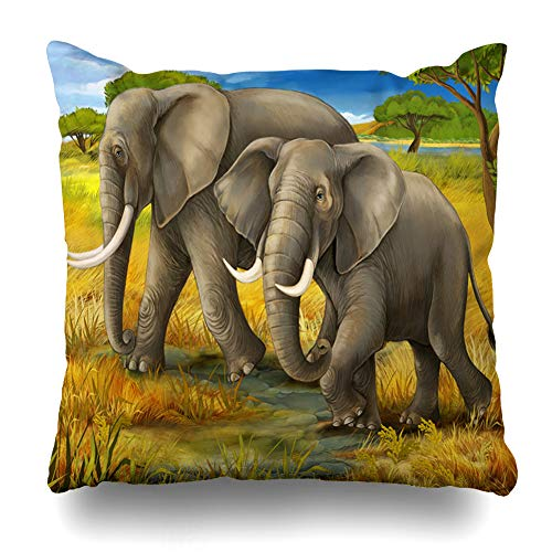 Ahawoso Throw Pillow Cover Family Safari Elephants Children Africa for African Summer Baby Big Design South Home Decor Cushion Case Square Size 16