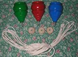 3 WOODEN TOY SPINNING TOPS with Strings