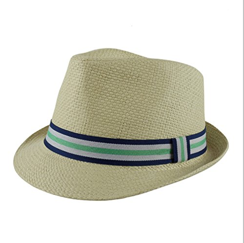 - Paek 2 Peak Unisex Kids Straw Trilby Fedora Cap Felt Fedora Hat Short Brim Sunhat (Boys, Navy,White and Green Band)