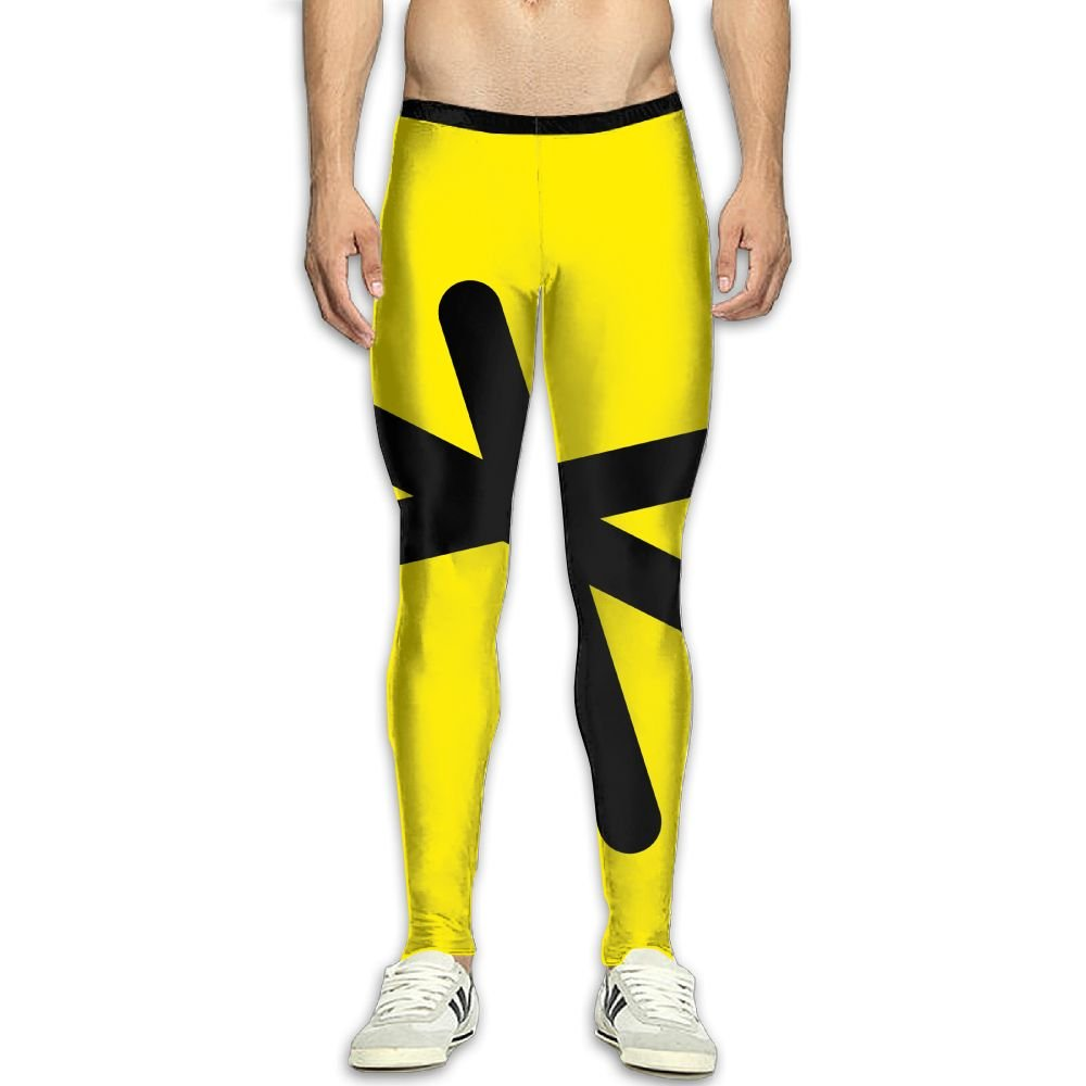 Fri Yellow And Black Breathable Compression Pants//Running Tights Panel Leggings Men Womens Winter