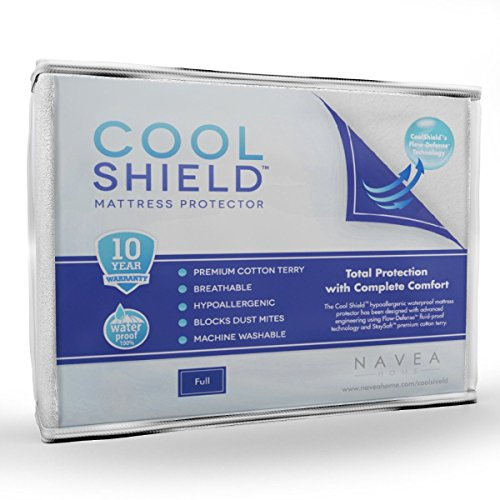 Allergy Cover Best Mattress (Cool Shield No Allergy Waterproof Mattress Protector - Breathable Terry Cover Protects Against Dust Mites, Allergens, Bacteria, Mold and Fluids - See Reviews - Machine Washable Mattress Protector - Best 10-yr Guarantee - Size: Full (54 in x 75 in))