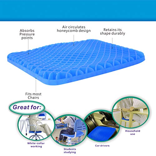 Gel Seat Cushion - Cool and Ventilated - Non-Slip , Seat Cushion - Relieves Sciatica and Coccyx Pain Housefar Photo #6
