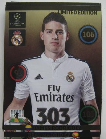 James Rodriguez Champions League Adrenalyn XL 2014 / 2015 14 / 15 2014 Limited Edition CARD