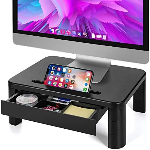LORYERGO Monitor Riser Stand - Built with Storage Drawer, 3 Height Adjustable Monitor Stand for Computer, Laptop, Screen, Desktop Stand with Phone & Tablet Holder