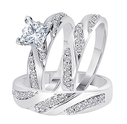 - Star Retail 2.00 Carat (Ctw) White Simulated Diamond Princess Cut 14k White Gold Over Engagement His & Her Wedding Engagement Trio Ring Set In Express Shipping