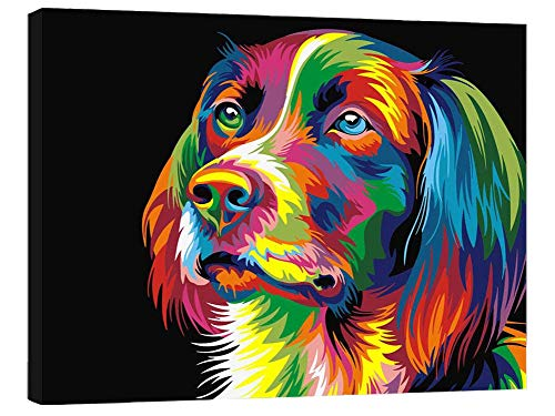 SUBERY DIY Acrylic Painting Paint by Numbers Kits by Hand Colouring for Adults Kids Beginner Gifts - 16x20 inches (Wooden Framed) (Colourful Head of The Dog)